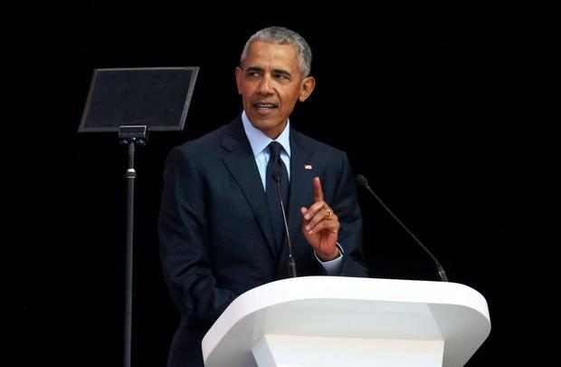 "Barack Obama implicitly but repeatedly rebuked Donald Trump yesterday as he warned the ""politics of fear"" was threatening to destroy liberal values that underpinned the global order. Photo: Siphiwe Sibeko"