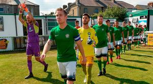 STATE OF PLAY: Bray Wanderers captain Conor Kenna leads out his team before his side's last Premier Division match against Sligo Rovers at the Carlisle Grounds on July 8. The players trained last night for the first time in almost a fortnight. Photo: Matt Browne/Sportsfile