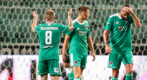 17 July 2018: Conor McCormack of Cork City reacts during the UEFA Champions League 1st Qualifying Round Second Leg match between Legia Warsaw and Cork City at the Polish Army Stadium in Warsaw, Poland. Photo by Lukasz Grochala/Sportsfile