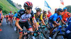 Daniel Martin gets out of the saddle as the 2018 Tour de France hits the mountains for the first time during yesterday's stage 10. AP Photo