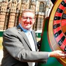 Unite union boss Len McCluskey stages a protest in London with a giant roulette wheel to warn of the danger to jobs from Brexit. Picture: PA