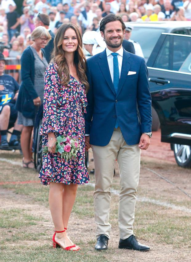 Princess Sofia of Sweden and Prince Carl Philip of Sweden during the occasion of The Crown Princess Victoria of Sweden's 41st birthday celebrations at Borgholm Sports Arena on July 14, 2018 in Oland, Sweden. (Photo by Michael Campanella/Getty Images)