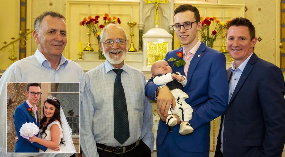 Five generations of the O'Leary family at Rathgarogue church, James (great grandfather) Paddy (great great grandfather) baby Ronan, Clayton (dad) and Colm (grandfather)