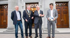Cork City FC manager, John Caulfield, Lord Mayor of Cork, Councillor Mick Finn; businessman Michael O'Flynn and Irish football assistant manager Roy Keane pictured at the formal launch of the Liam Miller Benefit Match at Cork City Hall. Pic Daragh Mc Sweeney/Provision