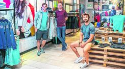 Co-founders Niall Horgan, Diarmuid McSweeney and Karl Swaine in the Gym + Coffee Pop-up shop in the Dundrum Shopping Centre Credit: Kyran O'Brien