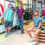 Co-founders Karl Swaine, Diarmuid McSweeney and Niall Horgan in the Gym + Coffee Pop-up shop in the Dundrum Shopping Centre