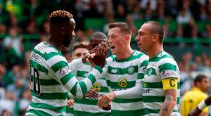 Soccer Football - Champions League - First Qualyfing Round Second Leg - Celtic v Alashkert - Celtic Park, Glasgow, Britain - July 18, 2018 Celtic's Moussa Dembele celebrates scoring their second goal with Callum McGregor and Scott Brown REUTERS/Russell Cheyne