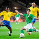Liam Miller in action for Ireland against Brazil in a friendly at Croke Park in 2008. Photo: SPORTSFILE