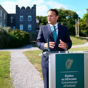 Taoiseach Leo Varadkar speaking at Derrynane house, Co Kerry, after a Cabinet meeting. Photo: Frank McGrath