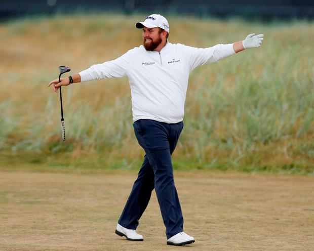 Shane Lowry in relaxed mood as he defeated Rory McIlroy 2&1 in a friendly practice game. Photo: Paul Childs/Reuters