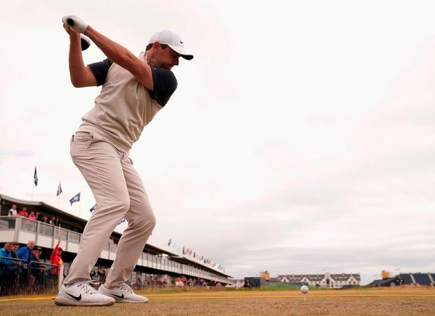 Rory McIlroy tees off at the 18th hole at Carnoustie during yesterday's practice round. The Northern Irishman gets his British Open challenge underway at 12.53 this afternoon. Photo: Stuart Franklin/Getty Images