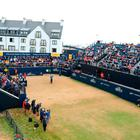 Sandy Lyle of Scotland hits the opening shot during the first round of the 147th Open Championship at Carnoustie