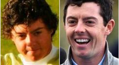 Rory McIlroy in 2007 and (right) today's look