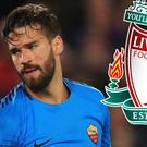 Roma goalkeeper Alisson is in Liverpool to complete his record move to the Premier League, the Italian club's sporting director has confirmed.
