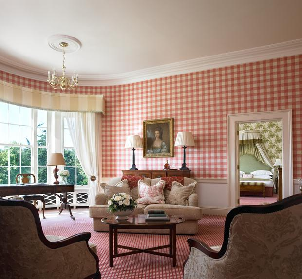 The sitting room area in Presidential Suite at the Kildare Hotel Spa & Golf Club near Straffan in County Kildare.