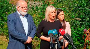 Sinn Fein Northern Ireland leader Michelle O'Neill speaks to media at a press conference in Coalisland, Co Tyrone, ahead of Prime Minister Theresa May's visit. Picture date: Thursday July 19, 2018. Photo: PA/PA Wire