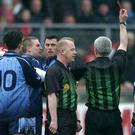 Alan Brogan is sent off by referee Paddy Russell in Omagh in 2006