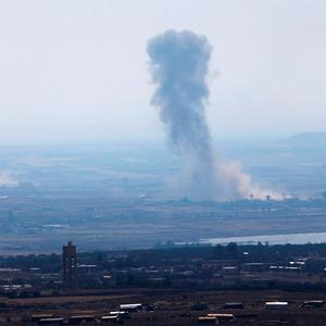 Smoke following the explosions in Syria is seen from the Israeli-occupied Golan Heights near the Israeli Syrian border July 19, 2018. REUTERS/Ronen Zvulun