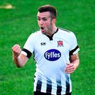 Michael Duffy of Dundalk celebrates scoring his side's second goal during the UEFA Europa League 1st Qualifying Round Second Leg match between Dundalk and Levadia at Oriel Park in Dundalk, Co Louth. Photo by Stephen McCarthy/Sportsfile
