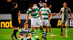 A dejected Lee Grace and Joey O'Brien following Shamrock Rovers' match at the Friends Arena in Stockholm. Photo: Sportsfile