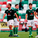 Derry City players react following the aggregate defeat. Photo: Sportsfile