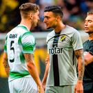 Ahmed Yasin of AIK and Lee Grace of Shamrock Rovers during the UEFA Europa League 1st Qualifying Round Second Leg match between AIK and Shamrock Rovers at Friends Arena in Stockholm, Sweden. Photo by Simon Hastegård/Sportsfile