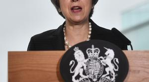 Prime Minister Theresa May gives a speech at the Waterfront Hall in Belfast (Charles McQuillan/PA)