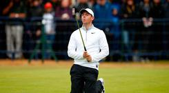 Golf - The 147th Open Championship - Carnoustie, Britain - July 20, 2018 Northern Ireland's Rory McIlroy reacts on the 18th during the second round REUTERS/Andrew Yates