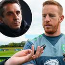 Adam Rooney signed for Salford City and (inset) Gary Neville