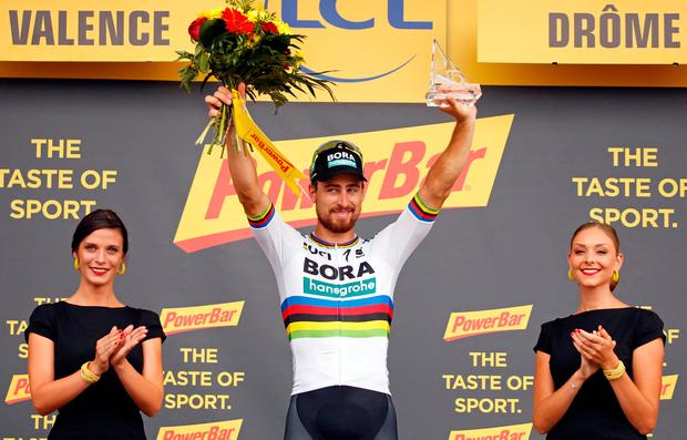 Peter Sagan of Slovakia celebrates his stage win on the podium