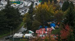 A homeless encampment in Seattle, Washington