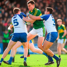 Kerry's Jack Barry in action against Kieran Duffy (left) and Drew Wylie of Monaghan during the Allianz NFL game in Killarney last year. Photo: Brendan Moran/Sportsfile