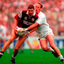 Kildare's Willie McCreery (right) takes on current Galway manager Kevin Walsh during the 1998 All-Ireland final. Photo: Ray McManus/Sportsfile
