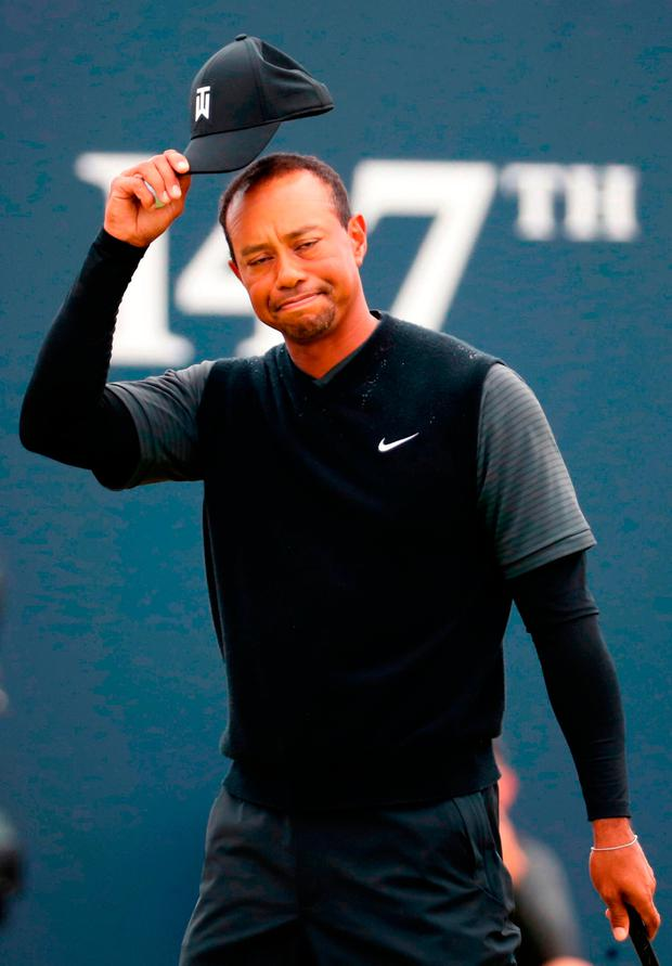 Back in the Open for the first time since missing the cut at St Andrews three years ago, Tiger Woods has managed to hit a total of 22 fairways out of 30 in successive rounds of 71. Photo: Jane Barlow/PA
