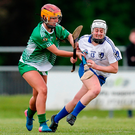 Galway's Ailish O'Reilly (left) in action for Galway and Aisling Carolan of Leinster during the Camogie Senior Interprovincial Final in May. Photo: Laszlo Geczo/INPHO