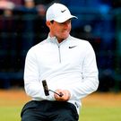 Rory McIlroy reacts on the 18th yesterday. Photo: Andrew Yates/Reuters