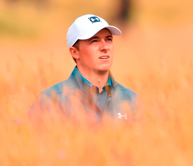 Jordan Spieth in the rough on the sixth hole. Photo: Getty Images