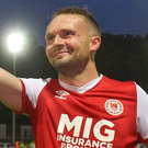 St Patrick's Athletic's Conan Byrne celebrates. Photo: Sportsfile