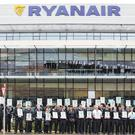 Ryanair pilots strike outside the company's head office in Swords, Co Dublin. Photo: Mark Condren