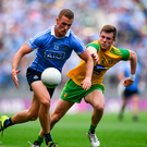 Paul Mannion of Dublin in action against Eoghan Bán Gallagher of Donegal last week