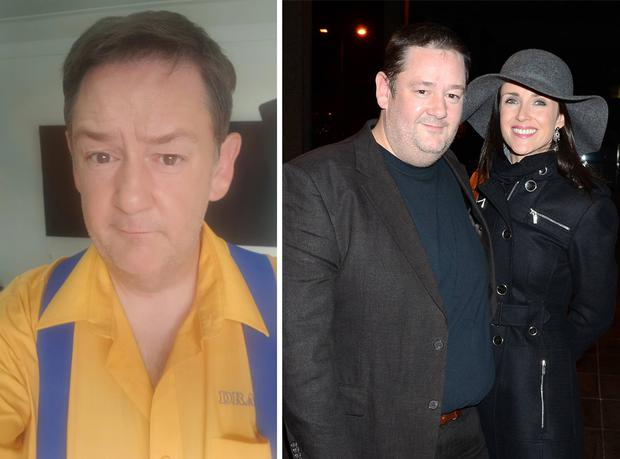 Johnny Vegas after his weight loss, left, and with his estranged wife Maia Dunphy in 2016, right