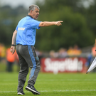 21 July 2018; Roscommon manager Kevin McStay appeals to a linesman following a tussle at the end of the first half of the GAA Football All-Ireland Senior Championship Quarter-Final Group 2 Phase 2 match between Roscommon and Donegal at Dr Hyde Park in Roscommon. Photo by Ramsey Cardy/Sportsfile