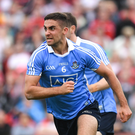 21 July 2018; James McCarthy of Dublin celebrates after scoring his side's first goal during the GAA Football All-Ireland Senior Championship Quarter-Final Group 2 Phase 2 match between Tyrone and Dublin at Healy Park in Omagh, Tyrone. Photo by Ray McManus/Sportsfile