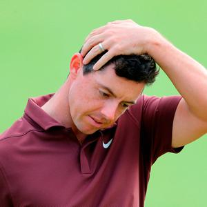 Northern Ireland's Rory McIlroy after a bogey on the 18th during day three of The Open Championship 2018 at Carnoustie Golf Links, Angus. Photo credit should read: Richard Sellers/PA Wire.