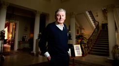 Home comforts: Dr Michael Smurfit (82) at his K Club home in 2016. Photo: Mark Condren