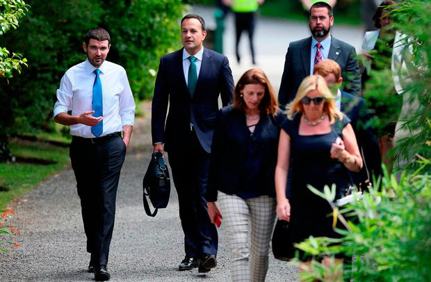 MEETINGS: Taoiseach Leo Varadkar (second left) arriving at Derrynane House, Kerry, for a Cabinet meeting last week. Picture: PA