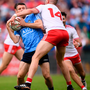 Darren Daly of Dublin in action against Richard Donnelly of Tyrone during the GAA Football All-Ireland Senior Championship Quarter-Final Group 2 Phase 2 match between Tyrone and Dublin at Healy Park in Omagh, Tyrone. Photo by Stephen McCarthy/Sportsfile