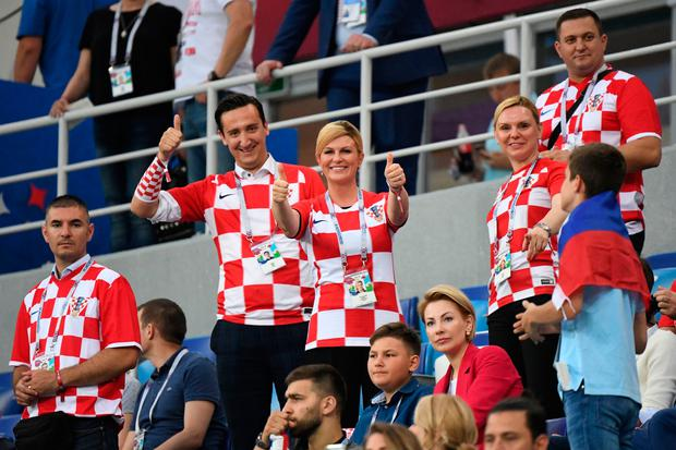 CHEER LEADER: Croatian president Kolinda Grabar-Kitarovic gained global recognition as she supported her country's progress to the World Cup final. Picture: AFP/Getty