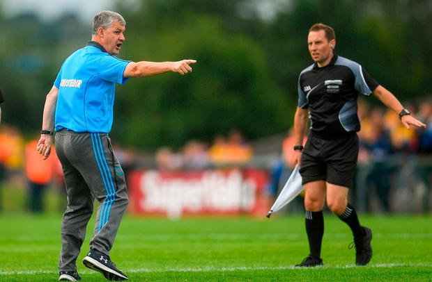 Roscommon manager Kevin McStay appeals to a linesman following a tussle at the end of the first half of the GAA Football All-Ireland Senior Championship Quarter-Final Group 2 Phase 2 match between Roscommon and Donegal at Dr Hyde Park in Roscommon. Photo by Ramsey Cardy/Sportsfile
