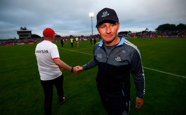 Dublin manager Jim Gavin and Tyrone manager Mickey Harte, left, following the GAA Football All-Ireland Senior Championship Quarter-Final Group 2 Phase 2 match between Tyrone and Dublin at Healy Park in Omagh, Tyrone. Photo by Stephen McCarthy/Sportsfile